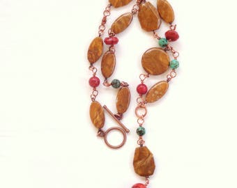 Necklace made with copper wire technology, African jade, turquoise and coral