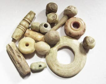 15 Mixed Ancient Shell and Bone Beads 2500 BC-1500 AD Afghanistan, Many With Designs