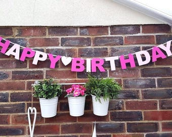 Birthday Girl Banner Party Bunting Decoration Pink.