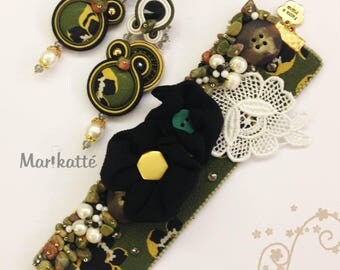 """Handmade earrings and bracelet with Soutache embroidery and bead techniques, """"KIWIWI"""""""