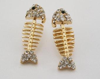 """Joan Rivers Crystal PIERCED  FISH  Earrings  1"""""""