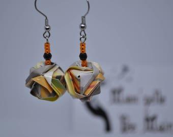 Earrings in Origami, Japanese jewelry