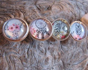 "Cabochon 12 mm, style "" boho "" dream catcher, feather, head of deer, no allergenic"