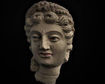 Gandharan Bodhisattva Buddha Head,