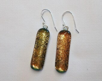 Fused glass, iridescent silver hook earrings