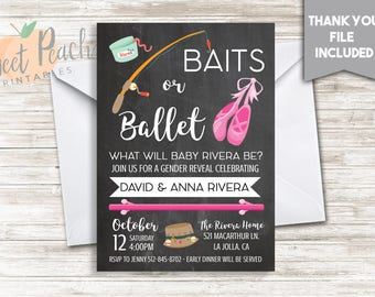 Bait or Ballet Gender Reveal Invite Invitation Baits or Ballet 5x7 Digital Party Fishing Pole Worms Ballet Shoes Wall Bar #21.0