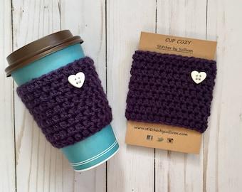 Plum Crazy About Coffee Cozy, crochet coffee cozy, crochet cup cozy, crochet mug cozy, coffee cozy, cup cozy, mug cozy