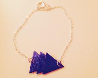Bracelet leather triangles