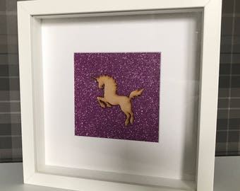 Sparkly Pink Unicorn Box Frame