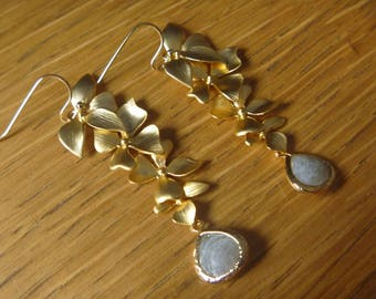 fallen orchid and pearl earrings labradorite