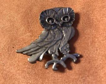 Genuine Metzke Pewter Owl Pin
