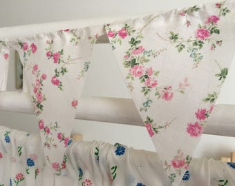 Liberty fabric mini bunting, banner,flag,pennant,shabby chic,wedding,event,bedroom,garden bunting