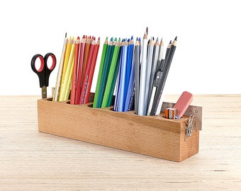 Pen stand jumbo from beech with magnetic holder