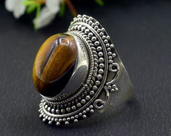 Natural Tiger's Eye Oval Gemstone Ring 925 Sterling Silver R864
