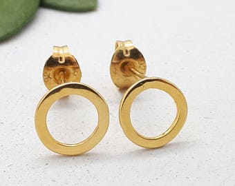 Dainty Gold Circle Studs, Gold Hug Studs, Dainty Gold Circle Earrings, Gold Stud Earrings for Woman, Gift for Her, Minimal Gold Studs