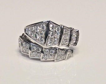 18K White Gold 1.52 CTW Diamond Snake Serpenti Double Row Flexible Band Ring