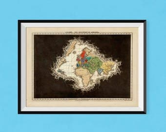 The Discovery Of America | Museum-quality, fine art poster print showing Europe to Asia and the Americas; USA, Canada, United States Poster