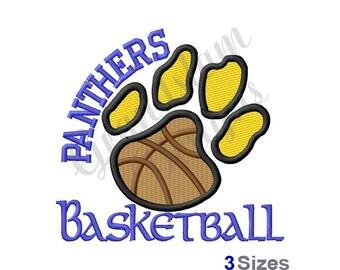 Panthers Basketball Paw  - Machine Embroidery Design