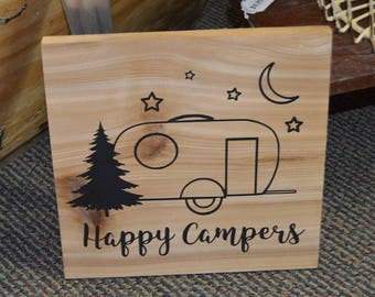 Happy Campers Decorative Travel Trailer Camping Wood Sign Cabin Decor