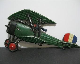 Vintage Homco Diecast Airplane, WW 1 Biplane Wall Decor