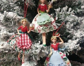 Gisela Graham x3 Vintage Retro Bake Off Christmas Fairies