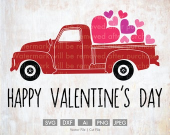 Happy Valentine's Day Old Truck - Cut File/Vector, Silhouette, Cricut, SVG, PNG, Clip Art, Download, vday, Holidays, Retro, Love, Hearts