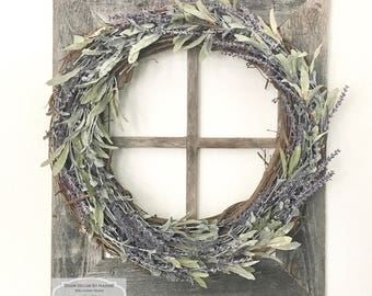 Lavender Wreath ~ Farmhouse ~ Rustic ~ Faux Lavender