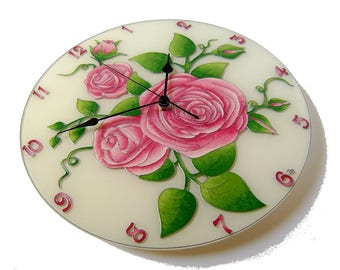 Pink Roses Large Wall Clock Silent Wall Clock, Unique Clock, Flower Wall Clock, Pink Wall Clock, Glass Painting Hand Painted Pink Wall Decor