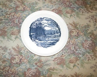Vintage Royal China Currier & Ives cake plate