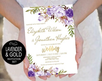 Lavender Gold Wedding Invitation Template Set-Purple Flowers Watercolor Invite -DIY Printable Invitations-PDF-Download Instantly | VRD148HDW