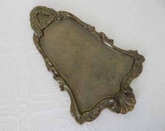 Vintage Brass Jewelry Vanity Dresser Tray