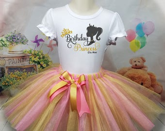 Birthday Tutu Outfit, Princess, Personalized Shirt, Skirt, Dress, Girl Any Age