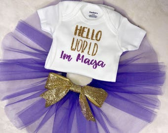 Purple tutu set for baby girl-Comming home outfit-First pictures outfit-Personalized tutu set