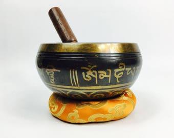 "5 1/2"" (3rd Eye Chakra) Tibetan Buddhist Brass Etched Singing Healing Bowl - 910g  ॐ"