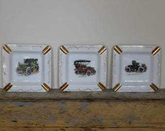 3 x Vintage Automobile Ashtrays