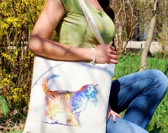 Cat tote -  Cat shoulder bag - Fashion canvas bag - Colorful printed market bag - Gift Idea