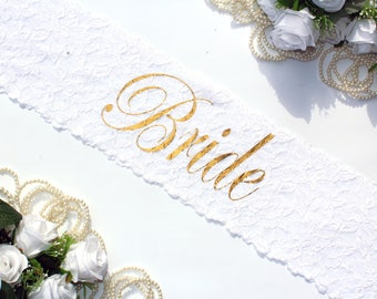 Bride Sash Bridal Sash Wedding Sash Bachelorette sash Bridesmaid gift Bride Gift Bachelorette party Hen party Bridal party lace sash bride
