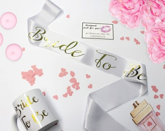 Personalized Bride to Be satin sash, Create your own bridal party sash with different gold glitter texts, Bridal party sash, Gifts for Bride