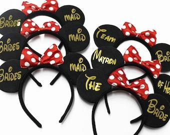 Minnie Bridal Tiara, Headbands, Bachelorette Party, Team Bride, Maid of Honor, Minnie Tiara, Minnie Mouse Ears, Bridesmaid, Model MM