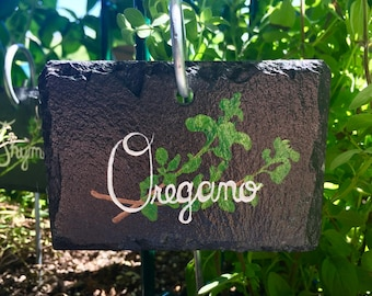 Oregano Slate Herb Garden Marker - Stake Included