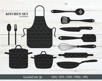 Kitchen Set SVG Cook SVG Chef Tools Bundle SVG Vector for Silhouette Cricut Cutting Machine Design Download Print