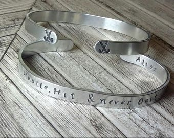 Field Hockey Cuff, Field Hockey Jewelry, Personalize Cuff Bracelet, Team Bracelet, Field Hockey Bracelet, Coach Gift