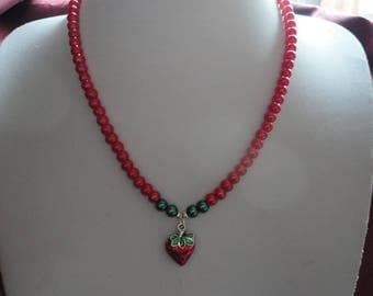 Strawberry Charm Beaded Necklace - N57