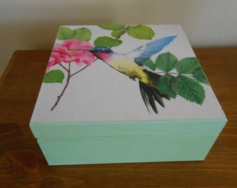 Trinket Box, Jewellery Box, Decoupaged Box, Hummingbird Trinket Box, Hummingbirds, Wooden Box