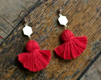Mini Red Tassel Tangerine Earrings Red tassels Statement Earrings bohemian earrings Handmade earrings Colourful Earrings Dangle earrings