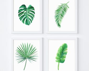 Tropical Leaf Print, Monstera, Banana Leaves, Monstera Leaves, Yoga Poster, Yoga Art, Botanical Art, Printable Art, Gift, Set Of 4 Prints
