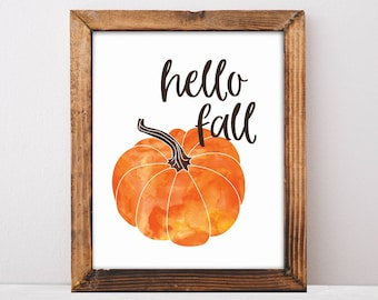 Hello Fall Sign, Happy Fall Printable, Fall Mantle Decor, Thanksgiving Decor, Pumpkin Spice, Fall Pumpkins, Pumpkin Home Decor