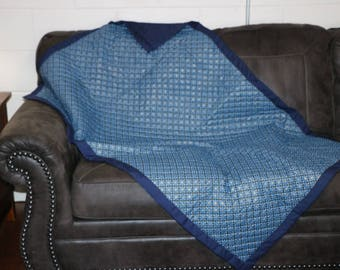 Handquilted Blue Star Lap Quilt 56x38""