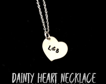 Dainty Heart Necklace | Necklace | Custom | Personalized Handstamped Jewelry | Customized Heart Necklace