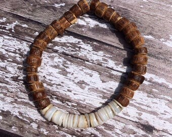 Wood Beaded Bracelet, Simple Bracelet, Unisex Bracelet, Boho Bracelet, Nature Jewelry, Hippie Bracelet, Bohemian Bracelet,Elastic Bracelet